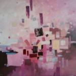 Romualda Anioł-Lubas, ,,Impresja miejska'', akryl na płótnie, 100x120 cm