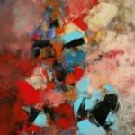"""Lidia Domagała, """"Ciepłe przestrzenie 1"""", akryl, 70x50 cm"""