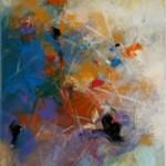"""Lidia Domagała, """"Ciepłe przestrzenie 2"""", akryl, 70x50 cm"""
