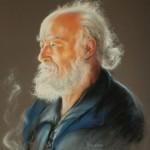 """Wiesława Kurdek, """"Portret W. z fajką"""", suchy pastel, 50x60 cm"""