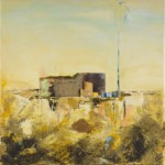 """Krzysztof Ryfa, """"Posterunek"""" z cyklu """"Zapomniane miejsca"""", technika własna, 30x30 cm, 2020 r."""