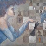 """Krzysztof Trzaska, """"Druga królowa"""", akryl na płótnie, 60x90 cm, 2020 r."""