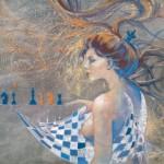 """Krzysztof Trzaska, """"Hetman czy królowa"""", akryl na płótnie, 70x90 cm, 2020 r."""