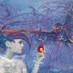 """Krzysztof Trzaska, """"Siódma bila"""", akryl na płycie, 35x50 cm, 2020 r."""