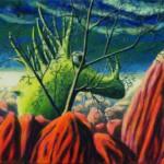 Purpurowe wzgórza i ich zielony duch - akryl na płótnie, 40x50 cm, 2019