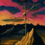 Suchobadylak rózowoświatły czekający gromu - akryl na płótnie, 40x40 cm, 2019