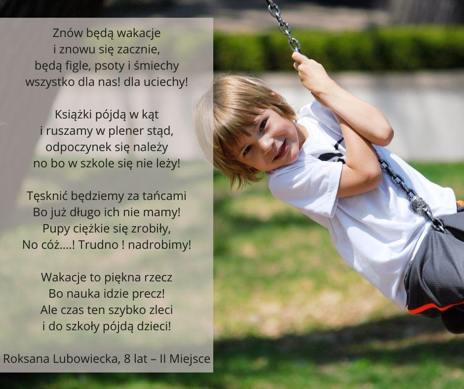 Roksana Lubowiecka, 8 lat – II Miejsce
