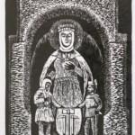 Wieliczka - Świeta Kinga i górnicy wieliccy, 30x20cm, linoryt, 2017 r