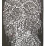 Wierzba z ogniowej, 46x32cm, linoryt, 2020 r.
